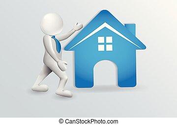 agent immobilier, maison, bleu, vecteur, logo