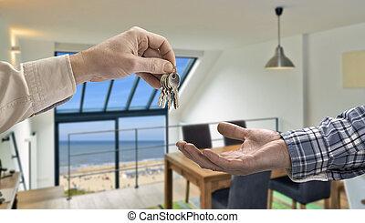 agent immobilier, salle de séjour, donner, maison, moderne, ...