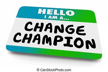 agent, kampioen, veranderen, label, naam, illustratie, 3d