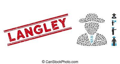 agent, linie, gekratzt, collage, langley, siegel, ikone