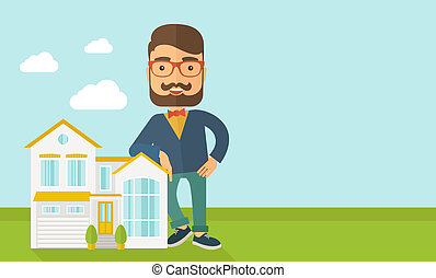 Agent poses for use in advertising. - A real estate agent ...