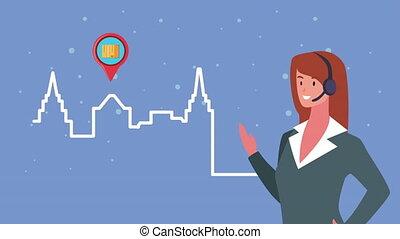 agent, service, épingle, soutien, emplacement, femme, ville, logistique