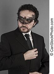 agent, sexy, et, mystérieux, homme affaires, à, masque