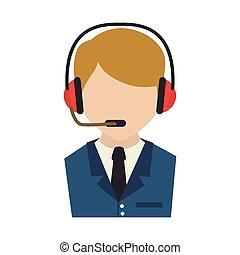 agent, téléopérateur, service, icône