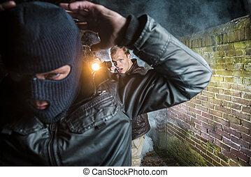 agente, arrestos, ladrón