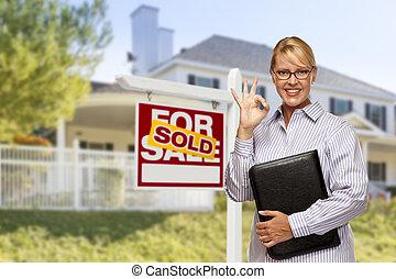 agente bene immobile, davanti, segno venduto, e, casa