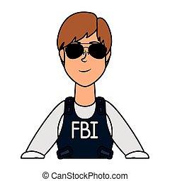 agente, carácter, joven, fbi, mujer