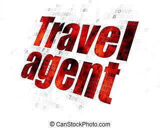 agente de viajes, plano de fondo, digital, turismo, concept: