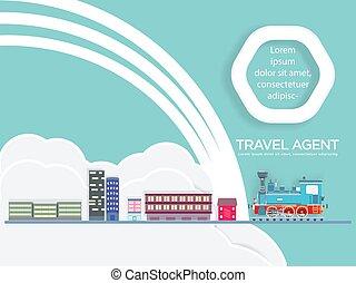 agente de viajes, tren, travel.