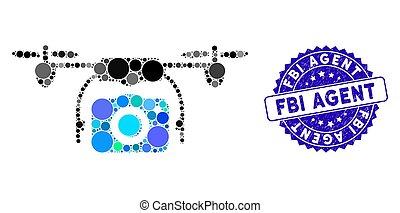 agente, grunge, icona, macchina fotografica, fuco, collage, sigillo, fbi