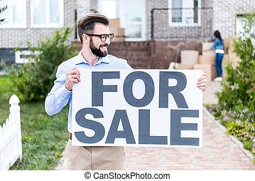 agente immobiliare, bandiera, vendita