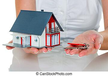 agente inmobiliario, con, casa, y, llave