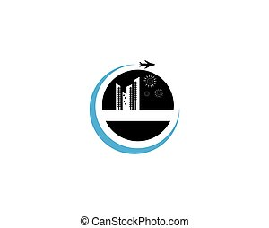 agente, plantilla, logotipo, viaje, diseño