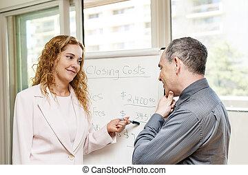 agente, presentación, bienes raíces, costes