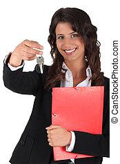 agente propiedad, ambicioso, hembra