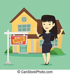 agente propriedade imobiliária, com, vendido, placard.