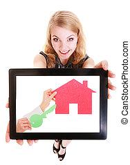 agente propriedade imobiliária, mostrando, papel, casa, ligado, tablet.