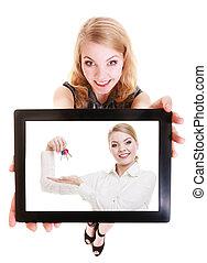 agente propriedade imobiliária, mulher, mostrando, teclas, ligado, tablet.