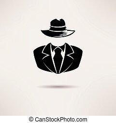 agente, spia, segreto, vettore, icon., mafia, icona