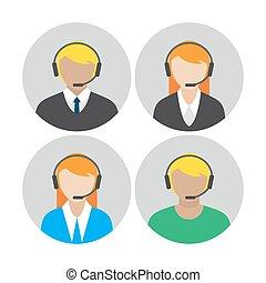 agents, casque à écouteurs, conversation, icônes, ensemble, par, callcenter