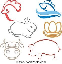 agerjord, logo, silhuetter, dyr