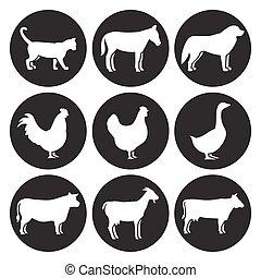 agerjord, silhuetter, sæt, dyr, iconerne