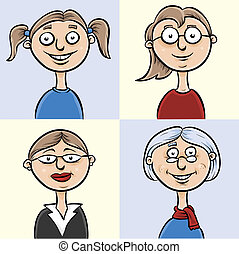 Ages of a Woman - Set of cartoons showing a woman aging from...