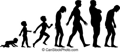 Editable vector silhouette sequence of the life stages of a man