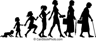 Ages of woman - Editable vector silhouettes of different ...