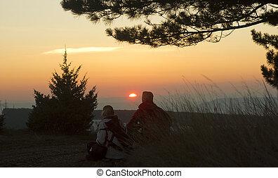 agganciare tramonto, in, montagne