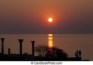 agganciare tramonto, mare, ammirare