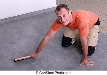 aggancio, linoleum, uomo, pavimento