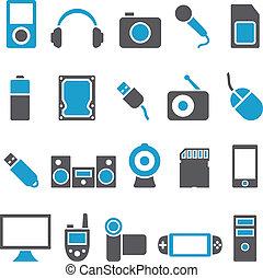 aggeggi, elettronica, set, vettore, icone