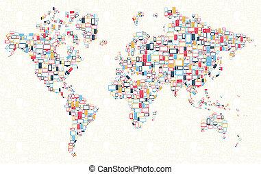 aggeggi, mondo, icone, illustrazione, mappa