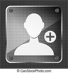aggiungere, amico, fondo, icona, metallico, vetro