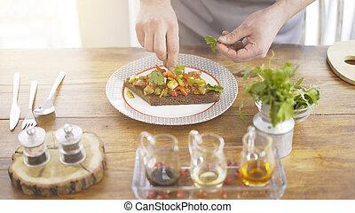 aggiungere, maschio, insalata, fogliame, capo, nero, spezzatino, pezzo, bread