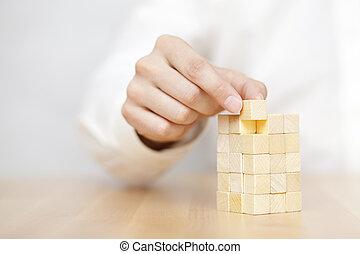 aggiungere, ultimo, successo, affari, mancante, legno, concept., mano uomo, place., blocco