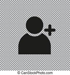 aggiungere, vettore, icona, persone