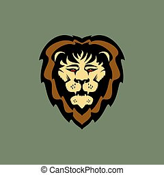 Aggresive strong lion head vector illustration simbol