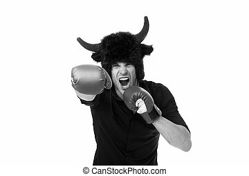 Aggression and masculinity. Man horns as devil or bull aggressive threaten violence gonna punch you. Aggressive intimidating individuals like to deliberately upset you. I am gonna punch you