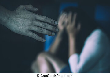 Aggression in the family, man beating up his wife. Domestic violence concept.