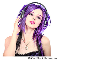 aggression music - Portrait of a punk girl with purple hair...