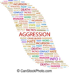 AGGRESSION. Word cloud concept illustration. Wordcloud...