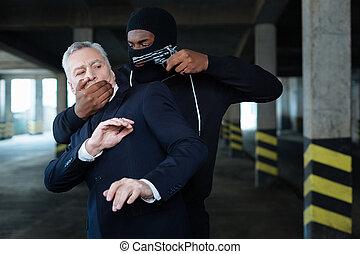 aggressiv, farlig, brottsling, kidnappning, a, affärsman
