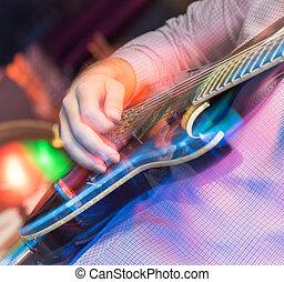 aggressiv, spielen, gitarre, bühne