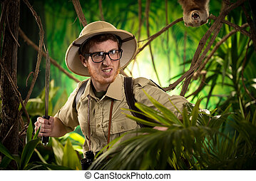 Aggressive adventurer exploring jungle - Aggressive...