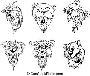 Aggressive animal heads