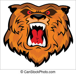 Creative Abstract Conceptual Design Art of Aggressive and Angry Bear Head Mascot