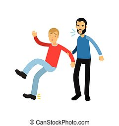 Aggressive bearded man grabbed young guy by hand and yells on him. Violent behavior concept.