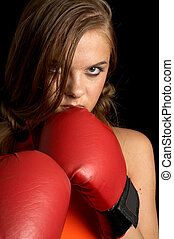 aggressive - Boxing girl in orange shirt